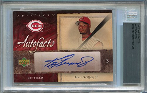 Upper Deck Certified Autograph Card - Ken Griffey Jr. Cincinnati Reds BGS Certified Authentic Autograph - 2007 Upper Deck Artifacts Autofacts (Autographed Baseball Cards)