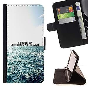 BullDog Case - FOR/Samsung Galaxy Core Prime / - / smooth sea skilled sailor quote waves life /- Monedero de cuero de la PU Llevar cubierta de la caja con el ID Credit Card Slots Flip funda de cuer