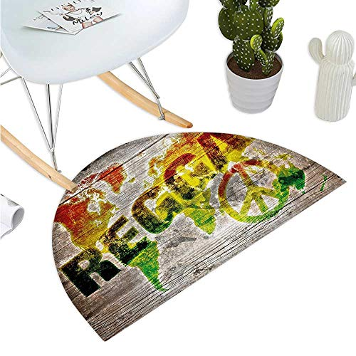 Rasta Semicircle Doormat World Map on Plaques with Reggae Lettering and Peace Symbol Halfmoon doormats H 27.5