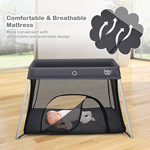 51tGpNpLVFL - BABY JOY Baby Foldable Travel Crib, 2 In 1 Portable Playpen With Soft Washable Mattress, Side Zipper Design, Lightweight Installation-Free Home Playard With Carry Bag, For Infants & Toddlers (Grey)