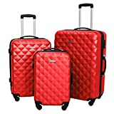 3 Piece Luggage Set Durable Lightweight Hard Case Spinner Suitecase LUG3 SS577A RED RED