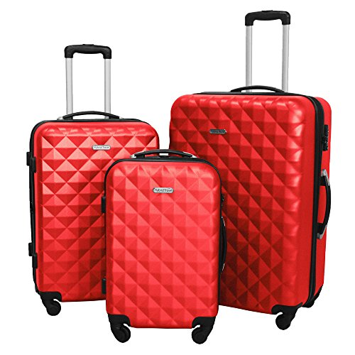 3 Piece Luggage Set Durable Lightweight Hard Case Spinner Suitecase LUG3 SS577A RED RED by HyBrid & Company