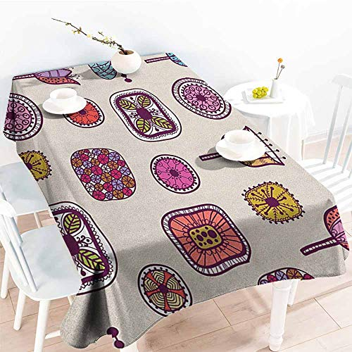 familytaste Doodle,Rectangular Table Cloth Abstract Shapes with Retro Inspired Colors Flowers Squares Circles Hand Drawn Art 70