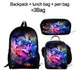 ThiKin 3d Galaxy Wolf Backpack and Lunch Bag Roomy Pencil Case for School Kids