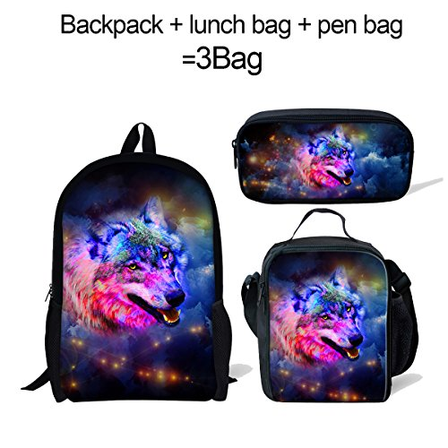Cute Galaxy Wolf Backpack+Pen Bag with lLunch Bag for Kids Boys Girls Back to School - Wolf Horse