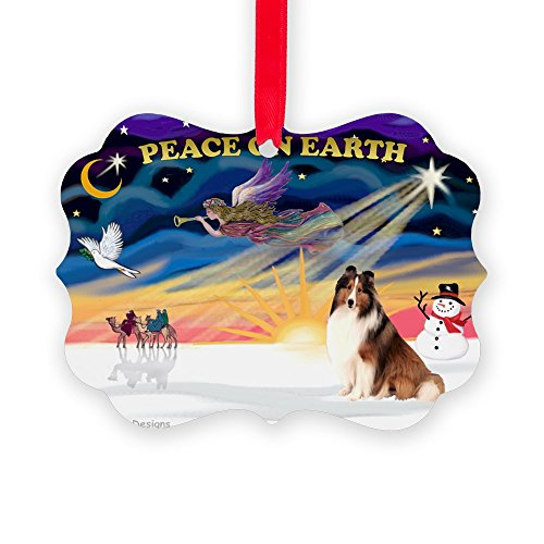 CafePress - Xmassunrise/Sheltie #7 - Christmas Ornament, Decorative Tree Ornament (Angel Dog Ornament Collie)