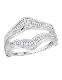 Baguette Cut Diamond Ring Guard in Sterling Silver (1/3cttw)(Color-GH-I1 Clarity)