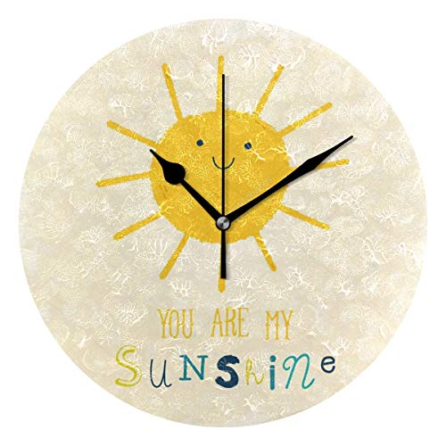 HangWang Wall Clock You are My Sunshine Customized Silent Non Ticking Decorative Round Digital Clocks Indoor Outdoor Kitchen Bedroom Living Room ()