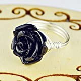 Black Rose Flower Bead and Sterling Silver or Gold Filled Wire Wrapped Ring- Custom made to size 4 -14