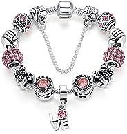 Presentski DIY Silvering Charm Bracelet with Cute Bowknots for Girls