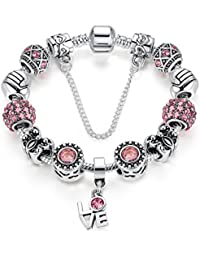 Silver Plate Charm Bracelet Show Love Gifts for Girls