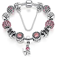 Presentski Silver Plate Charm Bracelet Show Love Gifts for Girls