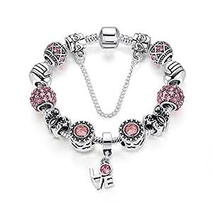 s Lettler Charm Bracelet Bangle Pink Crystal Bead Birthstone Charm Bracelet for Girls 18cm