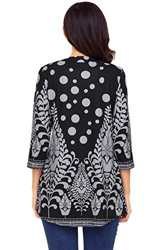Col Blouse Longue et Shirts Printemps Chemisiers 4 Automne Manches Shirts 3 Tunique Imprime Tees Mi Femmes Noir T Hauts Rond Tops Fashion Casual xH0qgwAqdI