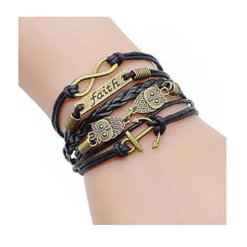 Time Pawnshop Retro Bronze Cute Owl Anchors Faith Charm Adjustable Braided Leather Bracelet - Sling Loveseat