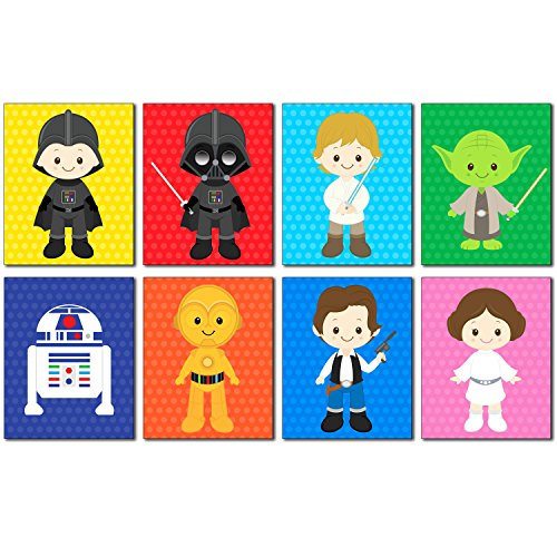 Star Wars Kids Art Prints - Set of 8 - 8x10 Adorable Photos - Kids Room or Nursery Wall Decor