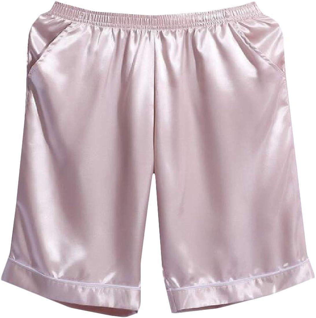Joe Wenko Mens Juniors Shorts Silk Thin Loose Pure Color Boxers