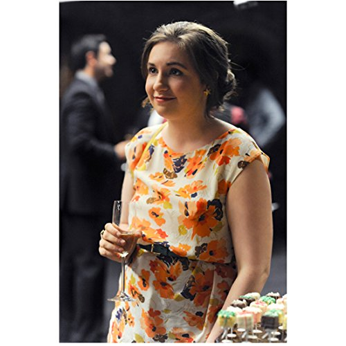 Girls (TV Series 2012 - ) 8 Inch x10 Inch Photo Lena Dunham Orange/White Floral Dress Drinking Champagne (Lena Champagne)