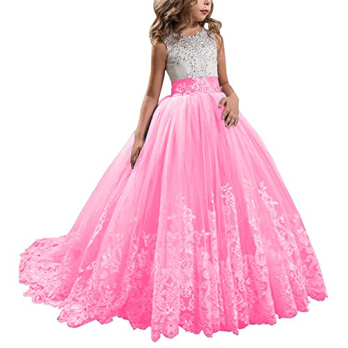 KSDN Wedding Flower Girls Dresses Princess Gowns First Communion Pageant Gowns(US 14 Pink) for $<!--$49.99-->
