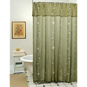 Amazing Creative Linens Daisy Embroidered Floral Fabric Shower Curtain Sage Green