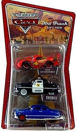 Disney / Pixar CARS 1:55 Die Cast Figure 3-Pack Cactus McQueen, Dirt Track Doc amp; Sheriff: Amazon.es: Juguetes y juegos