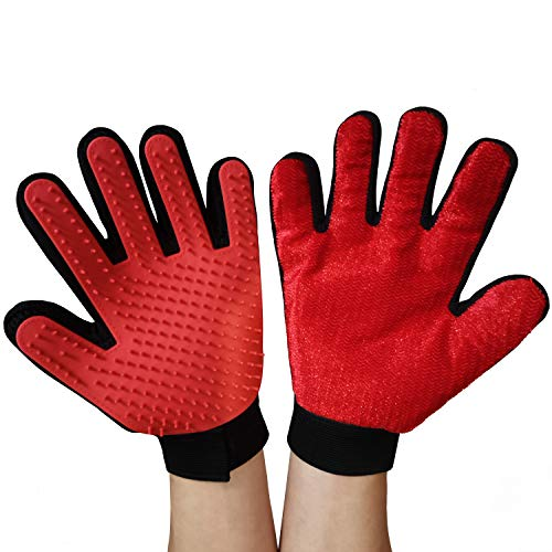 2 in 1 Pet Gloves, Lint Brush for Furniture Pets Hair Remover and Grooming Mitts for Dogs and Cats Deshedding Brush, 1…
