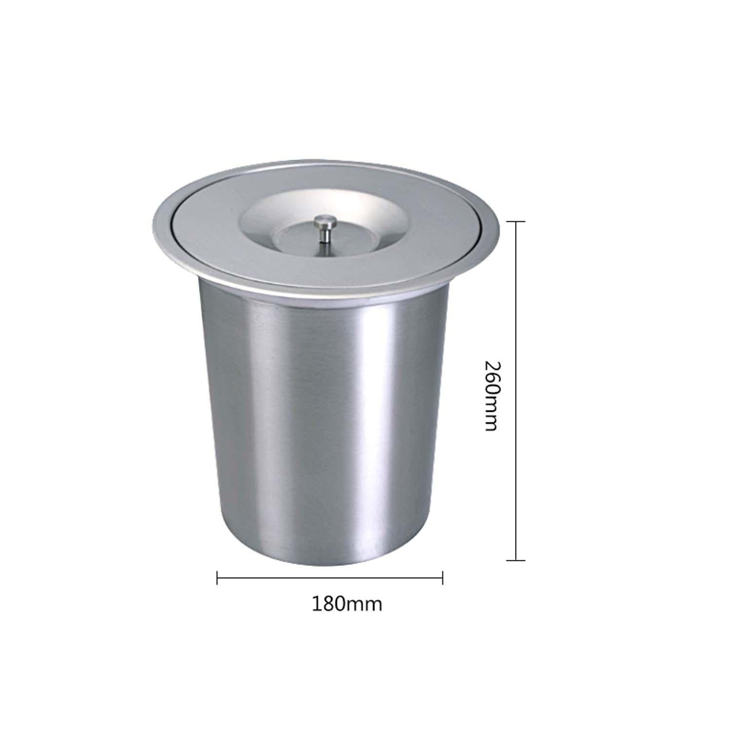 OOFYHOME stainless steel kitchen countertops embedded trash cans cupboard drawing process indoor storage hidden clean barrels