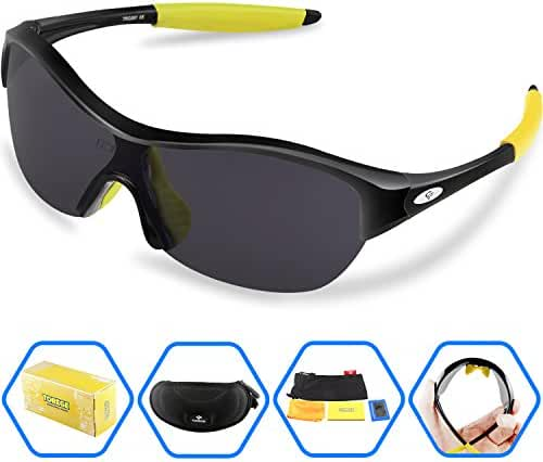 Torege Tr90 Flexible Kids Sports Sunglasses Polarized Glasses for Junior Boys Girls Age 3-15 Trk001