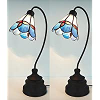 Pair of Traditional Vintage Tiffany Classic Style Stained Glass Desk Table Lamp Set of 2 (60)