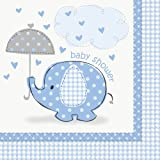 Blue Elephant Baby Shower Party Napkins, 16ct