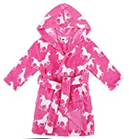 Verabella Boys Girls' Plush Super Soft Fleece Printed Hooded Bathrobes Robe