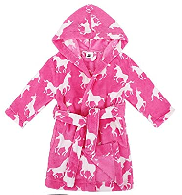 Verabella Boys Girls' Plush Super Soft Fleece Printed Hooded Bathrobes Robe