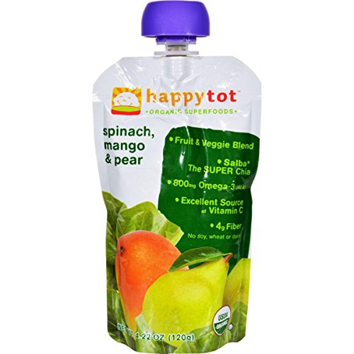 (Happy Baby HappyTot Organic Superfoods Spinach Mango and Pear - 4.22 oz - Case of 16)