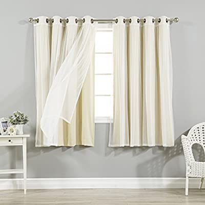 Best Home Fashion Mix and Match Tulle Sheer Lace and Blackout 4 Piece Curtain Set - Stainless Steel Nickel Grommet Top - Let in Natural light with the tulle sheer lace alone or layer it with the blackout curtain to obstruct light while adding Style and privacy Features an innovative triple weave fabric construction to block out sunlight and harmful UV rays Each panel has 8 stainless steel nickel grommets. Grommet has 1.6-inch inner diameter, Included grommet rim is 2.7 inches - living-room-soft-furnishings, living-room, draperies-curtains-shades - 51tGsOdD5LL. SS400  -