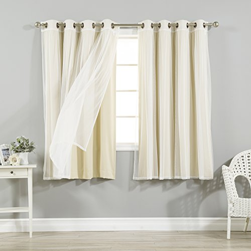 Best Home Fashion Mix & Match Tulle Sheer Lace and Blackout 4 Piece Curtain Set – Stainless Steel Nickel Grommet Top – Beige – 52″W x 63″L – (Set of 4 Panels)