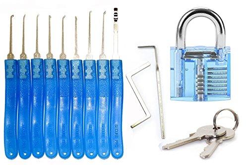 fubarbar 11-teiliges Lockpicking Set Profi für Anfänger Pick Cutaway sichtbar Vorhängeschloss Schloss für Locksmith Praxis Training Skill Werkzeuge Set (blau)