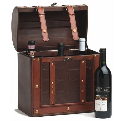 True Decor Box Wine, Wooden Rustic Holiday Wine Box 6 Bottle Storage Organizer For Gift 750ml Gift Box
