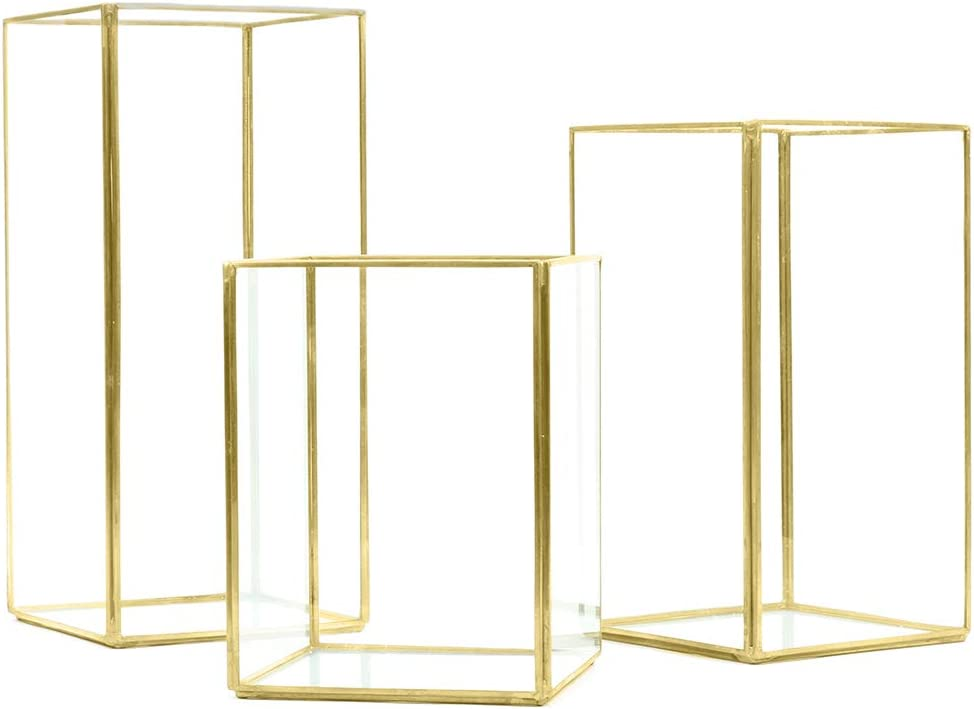 Koyal Wholesale Geometric Hurricane Candle Holder Set of 3 for Wedding Centerpiece, Table Decorations, Home Decor, Patio Decor (Gold)