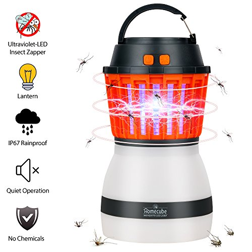 Bug Zapper&Camping Lantern, IP67 Rainproof 2-in-1 Insect Zapper with LED Tent Lantern USB Rechargeable&Portable Mosquitoes Killer for Indoor&Outdoor Camping Hiking, Traveling ,Emergencie(Black)