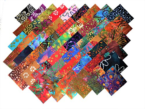 100 5 Inch Beautiful BATIKS charm Pack- 50 DIFFERENT COLORS-2 OF EACH by MDG