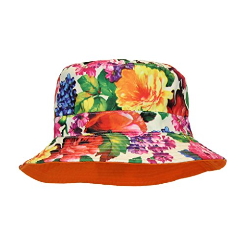 Cute Floral Bucket Summer Hat, All Cotton Sun Protection, Foldable, 2.25 in Brim (Women Hipster Hats)