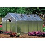 Monticello Greenhouse Premium Package, 8′ x 16′, Aluminum Finish For Sale