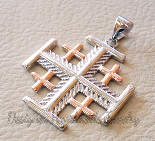 Rose gold vermeil, pendant jerusalem cross pendant two tone sterling silver 925 middle eastern jewelry christianity vintage handmade heavy designer handmade pendant
