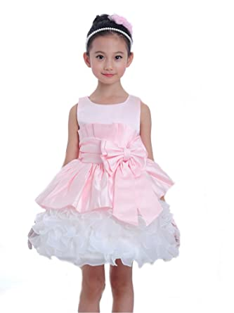2c15af44b009 Girls Kids Pink and White Floral Flower Girl Formal Wedding ...