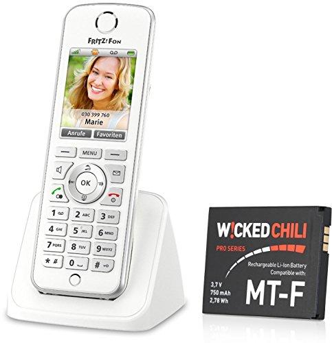 AVM FRITZ!Fon C4 Telefon weiß + Ersatzakku von Wicked Chili 750 mAh/2,78 Wh