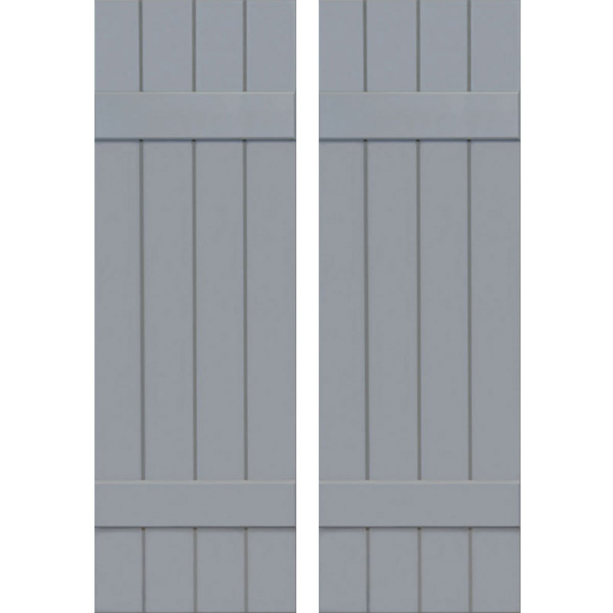 Ekena Millwork CWB15X063UNC Exterior Four Board Composite Wood Board-N-Batten Shutters with Installation Brackets (Per Pair), Unfinished, 15''W x 63''H by Ekena Millwork