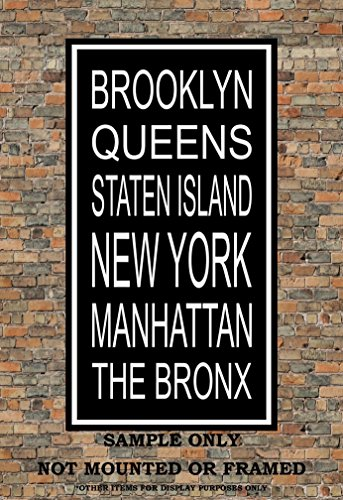 New York City Boroughs Subway Sign Print - Brooklyn, Queens,