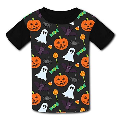 SDNKOLP Halloween-Pattern-Background-Tumblr Men's and Women's Cotton Summer Short-Sleeved T-Shirt XS Black ()