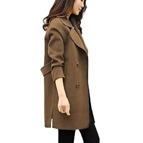 new concept f8c7a 2ea1b BIKETAFUWY Mantel Damen Elegant Trenchcoat Wintermantel Warm ...