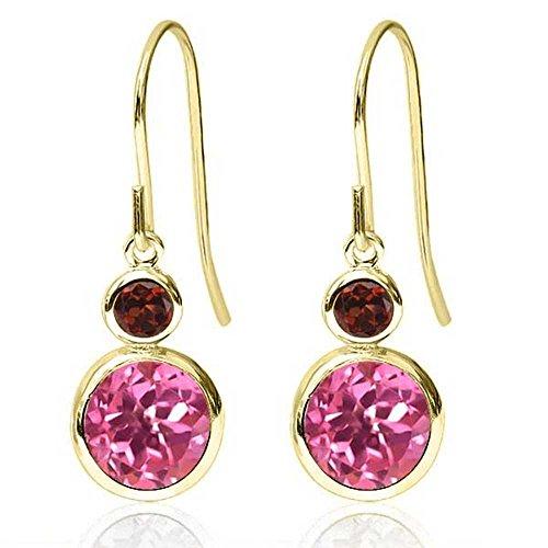 Pink Earrings Topaz Garnet & (2.24 Ct Round Pink Mystic Topaz Red Garnet 14K Yellow Gold Earrings)